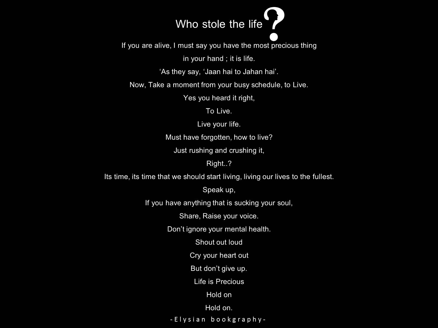 Cover pic of who stole the life by Elysian Bookgraphy